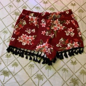 Hot kiss rose print shorts